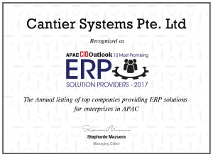 Cantier Systems Pte. Ltd Recognized as APAC CIO Outlook 10 Most Promising ERP Solutions Provider -